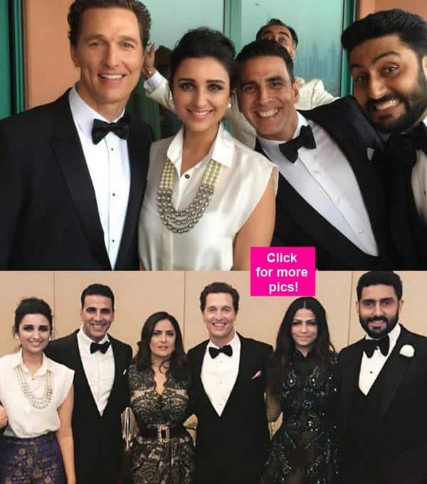 What are Akshay Kumar, Parineeti Chopra and Abhishek Bachchan doing with Hollywood hotties Matthew McConaughey and Salma Hayek? – view pics!
