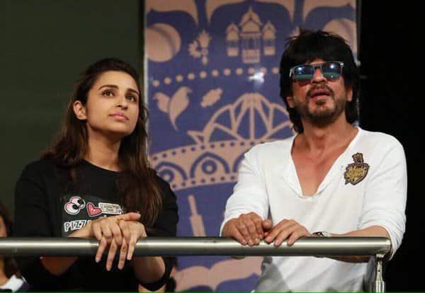 parineeti and shah rukh at Eden Gardens at the IPL match