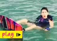 Watch Jacqueline Fernandez's hilarious surfing session!