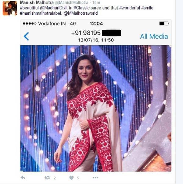 Did Manish Malhotra just leak Madhuri Dixit Nene's phone number on Twitter?