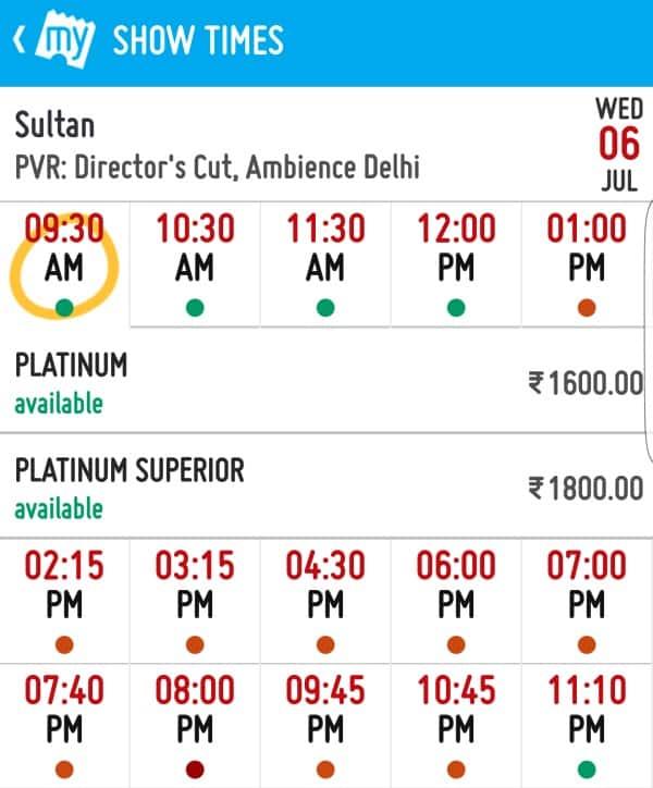 Salman Khan Sultan ticket price in Delhi