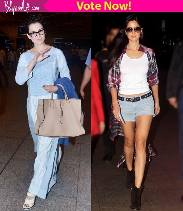 Katrina Kaif's HOT pants or Kangana Ranaut's COOL blue dress – what's your airport fashion pick?