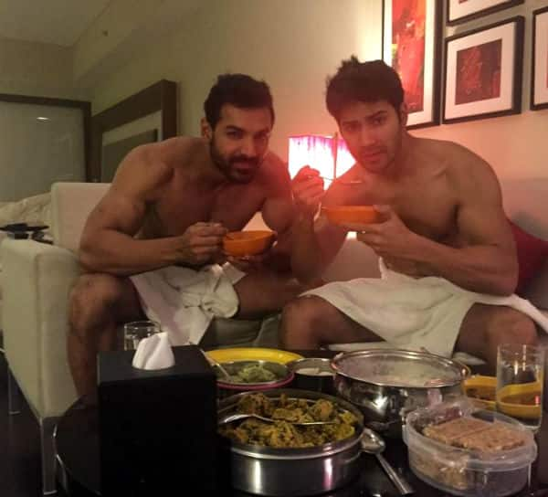 Varun-Dhawan-John-Abraham-Breakfast-in-towels-Pic