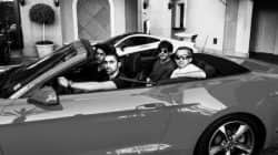 Shah Rukh Khan and Aryan Khan look total SWAGSTERS as they ride away in a convertible!