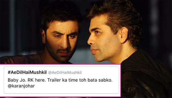 Ranbir Kapoor just hijacked Ae Dil Hai Mushkil's Twitter handle and had a FUNNY conversation with Karan Johar!