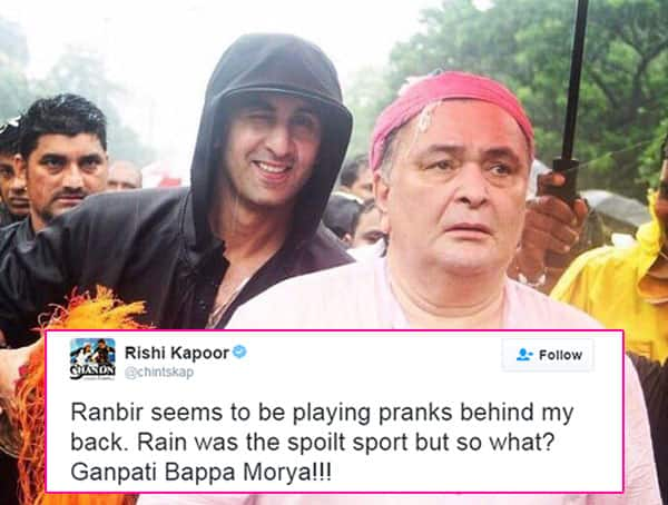 What kind of PRANK is Ranbir Kapoor playing on Rishi Kapoor during Ganpati visarjan?