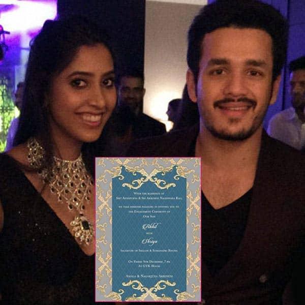 Akhil Akkineni-Shriya Bhupal's engagement invite is out – view pic