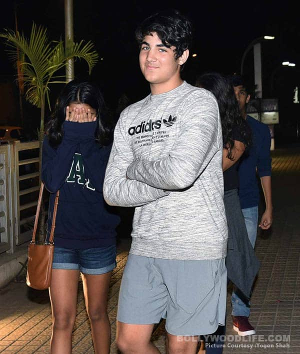 Akshay Kumar's son Aarav gets a taste of what's to come as paparazzi's go on a photo rampage on his movie night out