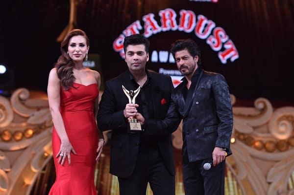 Shah Rukh Khan Iulia Vantur present award to Karan Johar Stardust