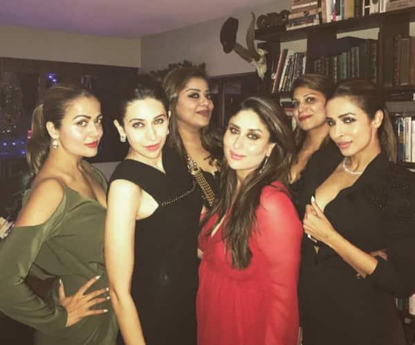 New mom Kareena Kapoor Khan goes all red for her X-mas party with Saif Ali Khan, Karisma Kapoor and Malaika Arora – view HQ pics