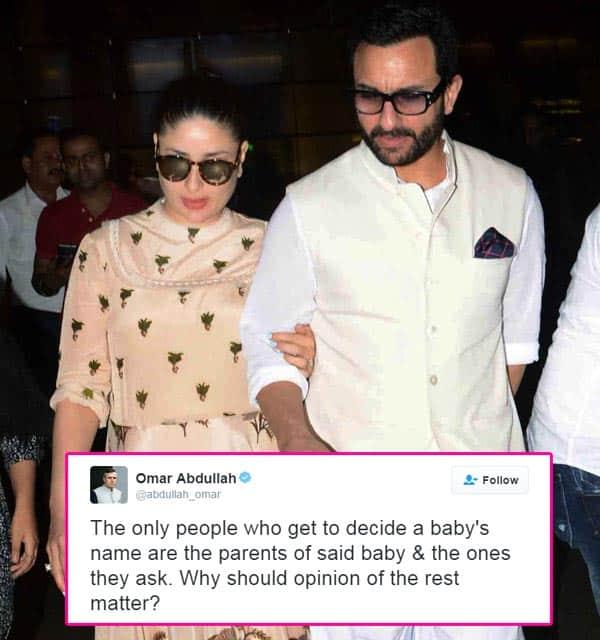 Omar Abdullah speaks in favour of Kareena Kapoor Khan-Saif Ali Khan's choice of naming their son Taimur Ali Khan Pataudi