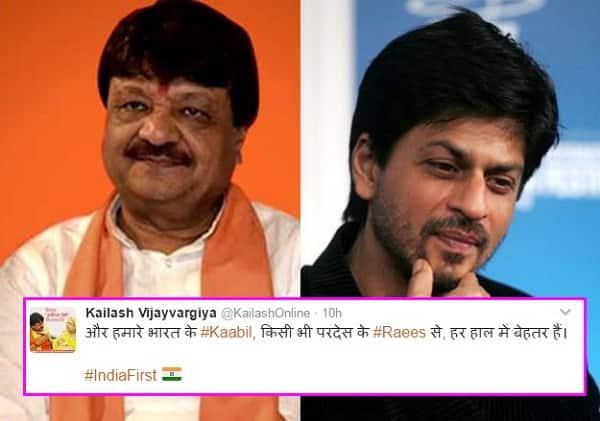 BJP's Kailash Vijayvargiya targets 'Raees' Shah Rukh Khan again