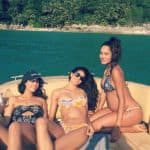 Lisa Haydon shows off her baby bump as she holidays with her girl gang