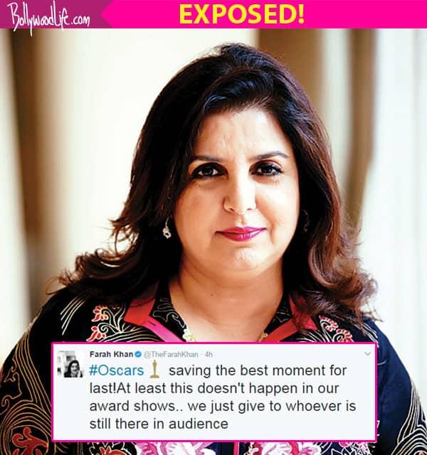 Farah Khan's this tweet on Oscars 2017 just EXPOSED Bollywood awards!