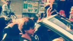 Shah rukh khans little master Abraham enjoying his car ride