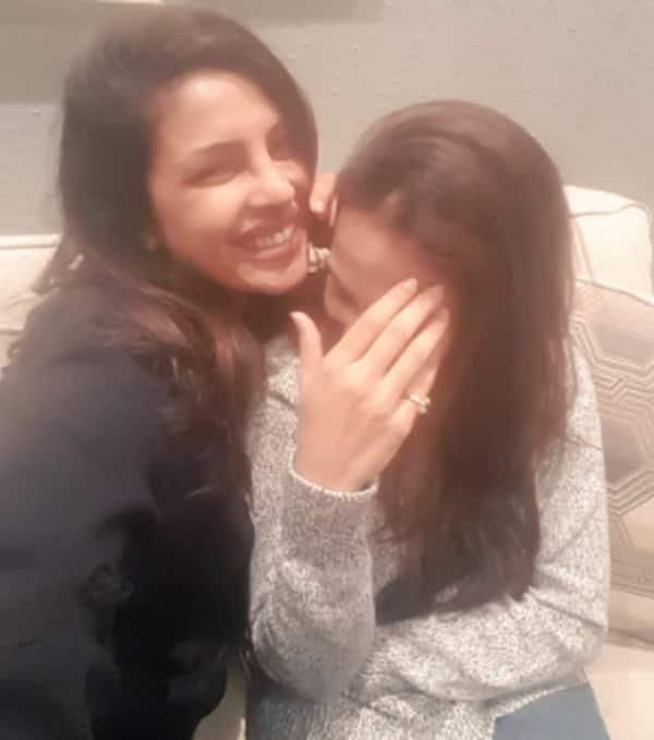 Aishwaryaa poses for a picture with Priyanka Chopra