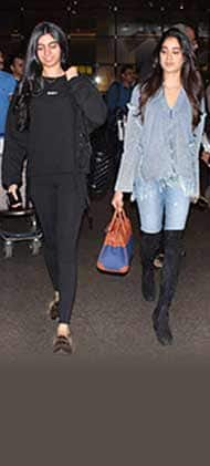 Jhanvi Kapoor has caught on the denim fever while Khushi Kapoor opts for all black avatar at the airport – view HQ pics