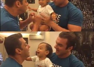 Salman Khan fights baby Ahil on Sultan song and we know he's going to be a macho like mamu jaan