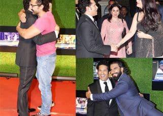 Aishwarya, Amitabh, SRK, Aamir, Ranveer greet Sachin Tendulkar at his film's screening and we have it captured in 5 clicks
