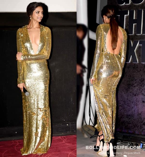 Deepika Padukone in golden Naeem Khan gown for premiere of xXx Return of Xander Cage