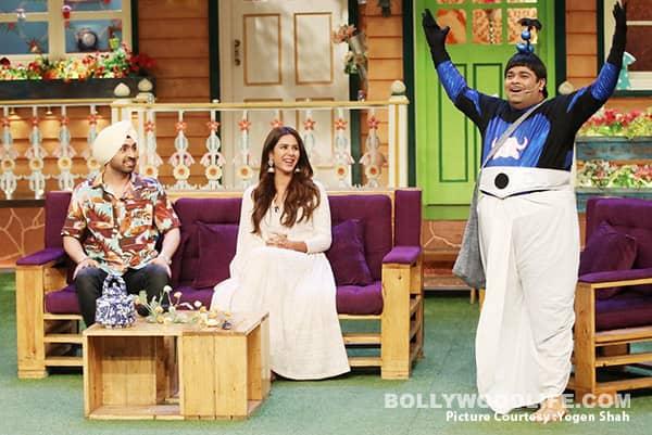 Diljit-Dosanjh-&-Sonam-Bajwa-enjoy-Baccha's-act-on-The-Kapil-Sharma-Show