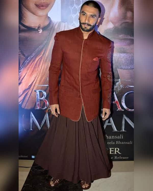 Ranveer Singh in an Anju Modi ensemble