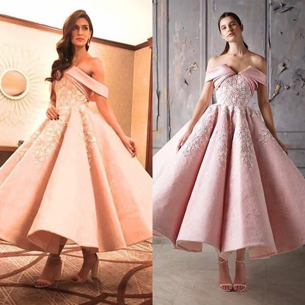 Kriti Sanon in Mark Bumgarner pink dress for IIFA Rocks 2017 green carpet