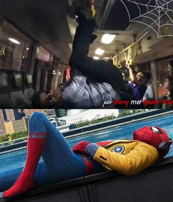 shah rukh khan hangs upside down in a bus for spiderman is it