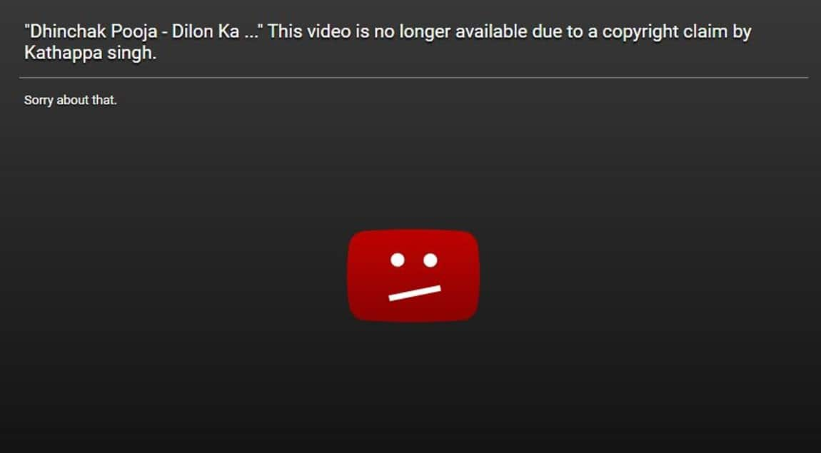 Dhinchak Pooja Videos Removed by YouTube After Receiving Copyright Claim