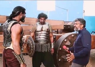 Baahubali 2 LEAKED pic: SS Rajamouli teaches Rana Daggubati to be Bhallaladeva, while Prabhas seems distracted