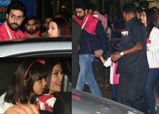 Aishwarya Rai and Abhishek Bachchan get Aaradhya to cheer for the Pro Kabaddi team in pink - view pics