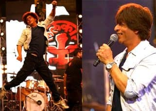 Jumping with joy, flashing his dimples, Shah Rukh Khan was in his element at Farhan Akhtar's rock concert - view pics