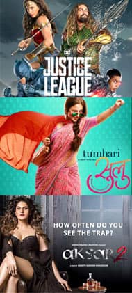 Which movie will you watch this weekend - Justice League, Tumhari Sulu or Aksar 2?