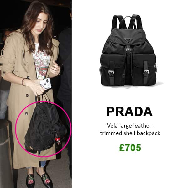 0ba6b117fe6f ... closeout prada classic leather trimmed nylon backpack completing her  chic airport look anushka sharma opted for