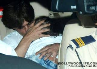 Aww! AbRam Khan seems to have dozed off on Shah Rukh Khan's lap in the car as they arrive for Adira's birthday bash - view pic