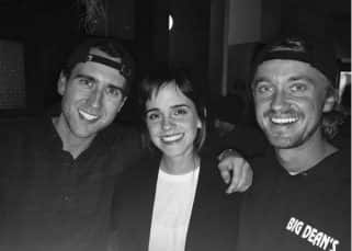Harry Potter stars Tom Felton, Emma Watson and Matthew Lewis had a mini reunion and we want to frame their picture