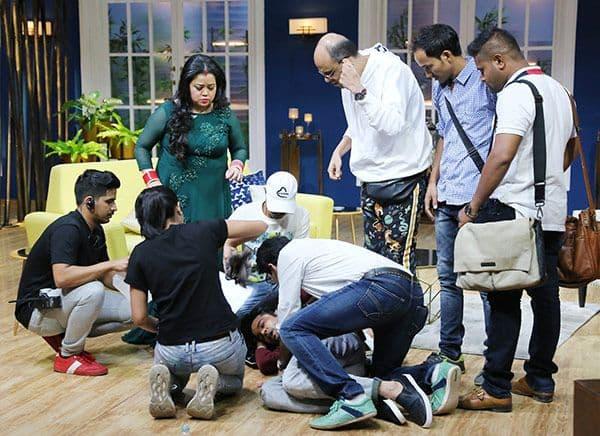 Rajeev-Khandelwal-faint-on-JuzzBaatt-sets---Pranks-Bharti-Singh-(5)