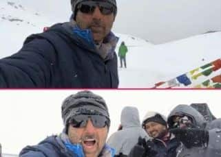 Birthday boy Sunny Deol is stranded in the snow and enjoying every bit of it - watch video!