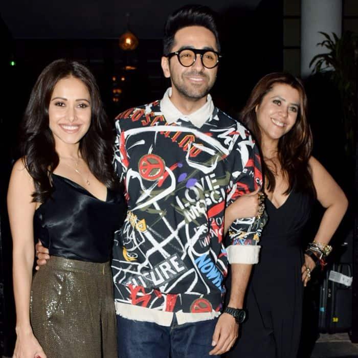Ayushmann Khurrana and Nushrat Bharucha  and Ekta kapoor pose in front of camrea