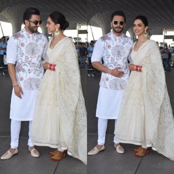 Twinning in white! Newly-weds Ranveer Singh and Deepika Padukone jet off in style for their Bengaluru reception- view HQ pics