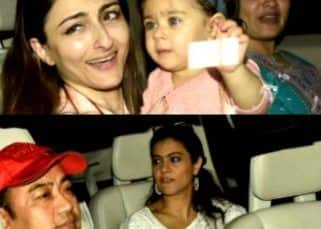 [HQ Pics] Karan Johar's twins, Soha Ali Khan, Kajol and others arrive for Rani Mukerji's daughter Adira's birthday