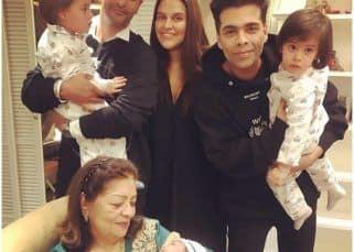 Neha Dhupia sends a sweet birthday wish to Karan Johar's twinnies Yash and Roohi on Mehr's behalf - view post