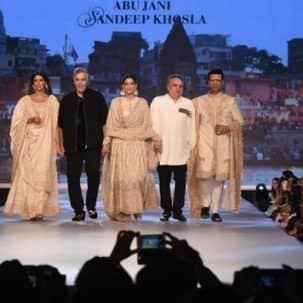 Sonam Kapoor, Karan Johar and Shweta Nanda walk the ramp for Abu Jani ...