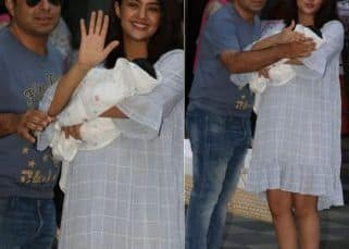Surveen Chawla looks radiant as she takes her baby girl Eva home with hubby Akshay Thakker - view HQ pics