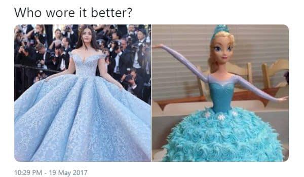 केक वाली डॉल से ऐश की ड्रेस की तुलना