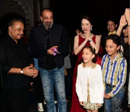 Sanjay Dutt's kids Iqra and Shahraan accompany their dad to