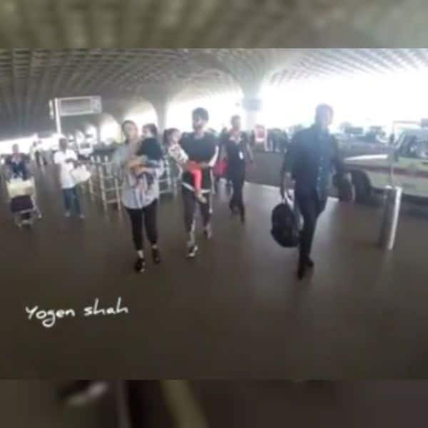 मुंबई एयरपोर्ट पर बच्चों के साथ स्पॉट हुए शाहिद-मीरा