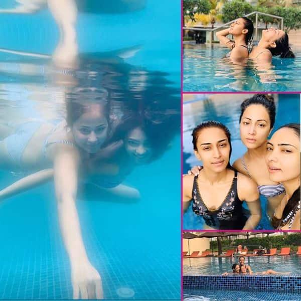 बिकिनी पहनकर स्वीमिंग पूल में उतरी हिना खान