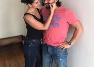 PDA Alert! Saif Ali Khan can't stop blushing as wifey Kareena Kapoor goofs around with his moustache