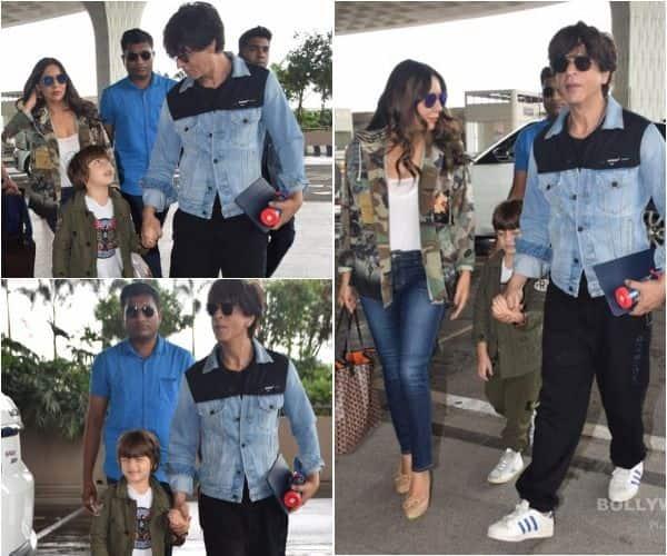 एयरपोर्ट पर परिवार के साथ दिखे शाहरुख खान